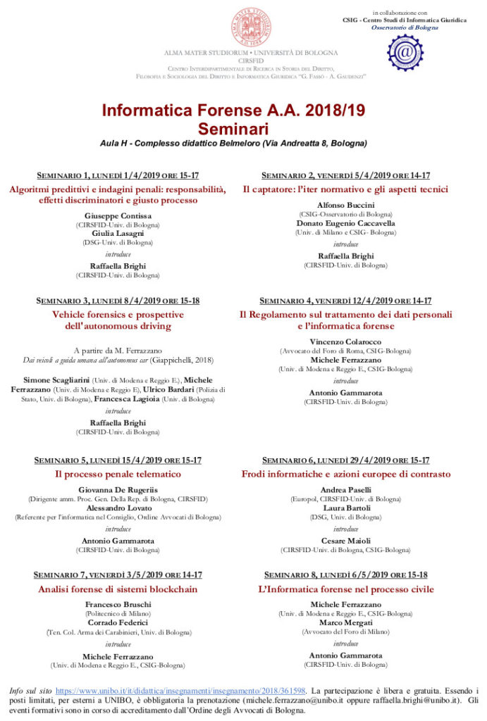 informatica forense corso unibo