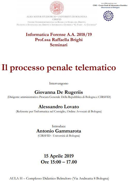 processo penale telematico unibo 2019