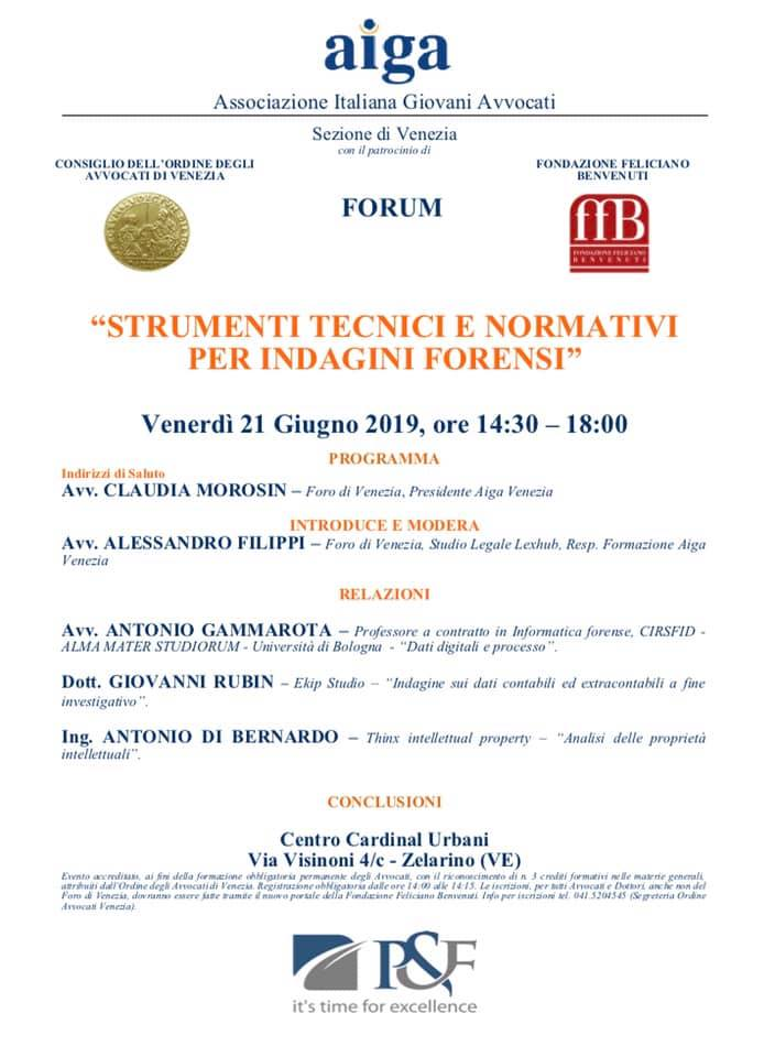 seminario indagini forensi digitali venezia