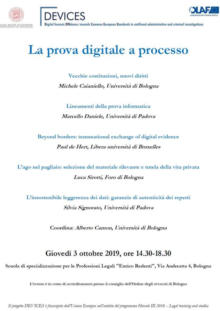 convegno prova informatica DEVICES Bologna 3 ottobre 2019